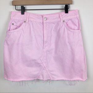 Topshop Moto Custom Dyed Raw Hem Denim Mini Skirt
